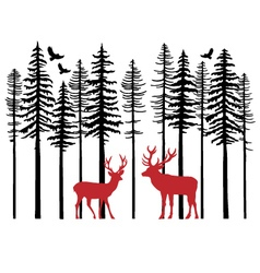 Fir tree forest with reindeer vector image