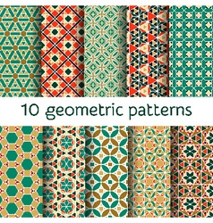 Geometric seamless patterns set vector image