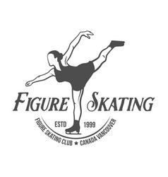 ice skating label logo design elements vector image vector image