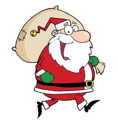 Santa Claus Runs With Bag vector image vector image