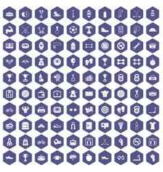 100 boxing icons hexagon purple vector