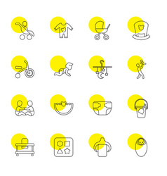 16 baby icons vector image