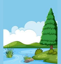 a beautiful flat landscape vector image