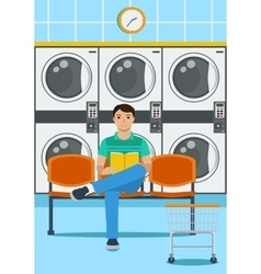 a sitting man in loundromat vector image