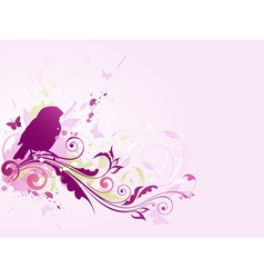 Abstract background with bird and floral ornament vector