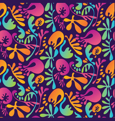 Abstract tropical colorful floral seamless pattern vector