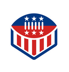 american football usa flag crest icon vector image