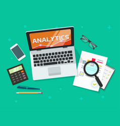 analysis audit research report with analytics data vector image