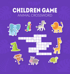 Animal crossword children educational game vector