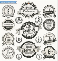 anniversary retro badges collection 8 years vector image