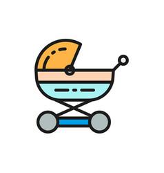 Baby carriage stroller for newborn pram flat vector