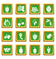 Berries icons set green vector