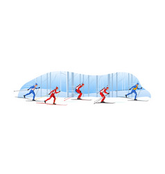 Biathletes in sportswear with riffles are skiing vector