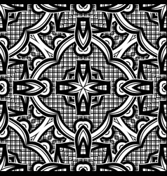 Black and white seamless pattern with mosaic motif vector