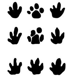 black footprints of tapir vector image