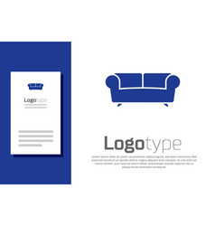 Blue sofa icon isolated on white background logo vector
