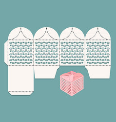 Box for gifts and greetings cutout pattern and vector