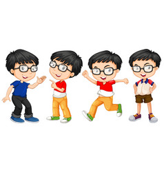 Boy in glasses in four actions vector