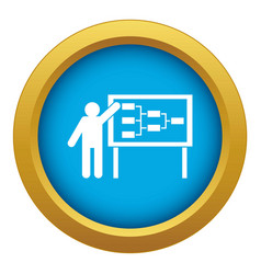 Businessman and presentation screen icon blue vector