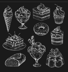 Cake and ice cream chalk sketch on blackboard vector