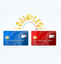 Card to card money transfer concept vector