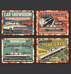 Cars service rusty metal plates auto repair garage vector
