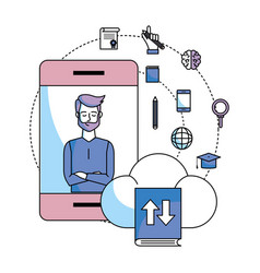 Cellphone with clouds vector