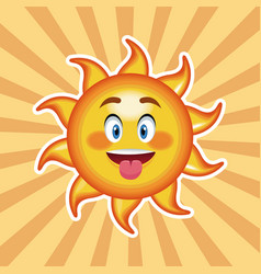 Character sun tongue out with striped background vector