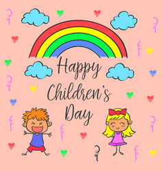 children day theme with rainbow vector image