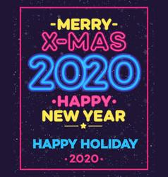 christmas celebration neon poster vector image