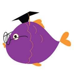 Clipart a graduated fish wearing spectacles vector