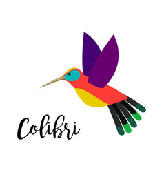Colibri bird element with inscription vector