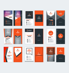 collection of vertical business card templates vector image