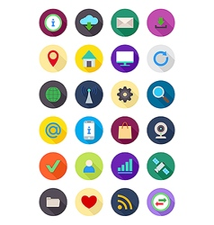 Color round Internet icons set vector image