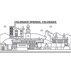 colorado springs architecture line skyline vector image
