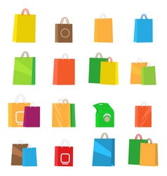 Colorful empty shopping bags isolated set vector