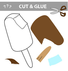 Cut and paste worksheet - ice cream vector