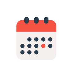 cute calendar icon in flat style isolated on vector image