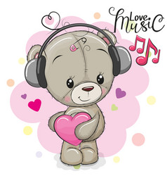 Cute teddy bear with headphones vector