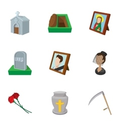 Death icons set cartoon style vector image
