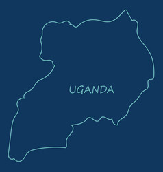 Detailed of a map of uganda with flag eps10 vector