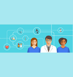 Doctor with nurses medical background vector