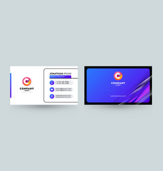 double sided business card template layout vector image