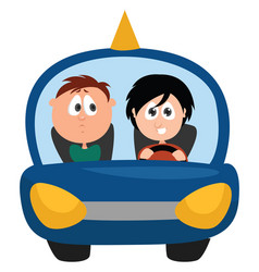 Driving instructor on white background vector