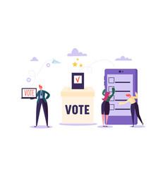 e-voting concept characters voting using tablet vector image