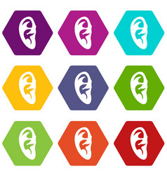 ear icon set color hexahedron vector image