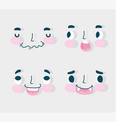 emojis kawaii cartoon faces human expressions set vector image