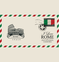 envelope or postcard with roman coliseum vector image