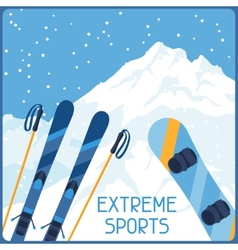 Extreme sports on background of mountain winter vector