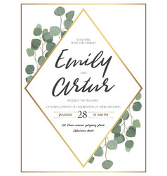 Floral design card with eucalyptus greenery frame vector